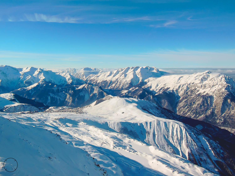 Uitzicht in skigebied Alpe d'Huez