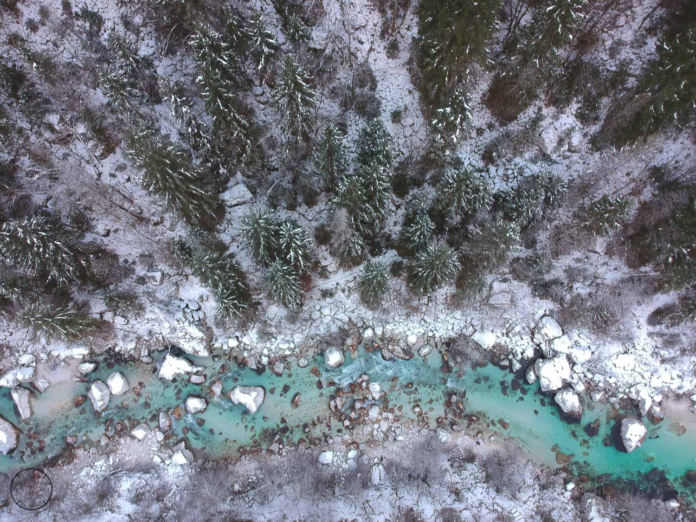 Winter in Slovenië - Soča vanuit de lucht