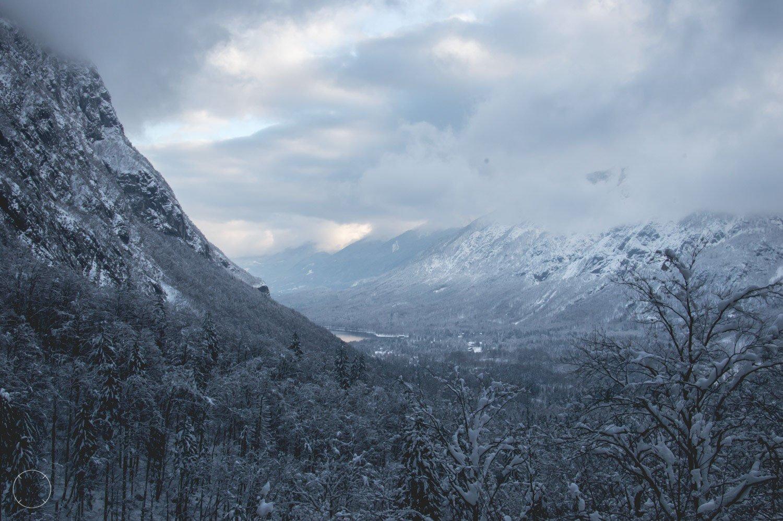 Wintervakantie in Slovenië - Uitzicht op het meer van Bohinj