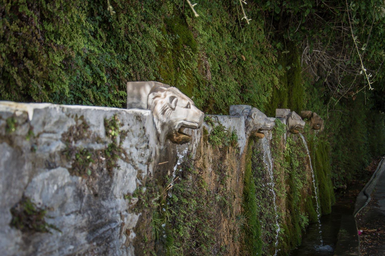 De leeuwenkoppen van de waterbron in Menites