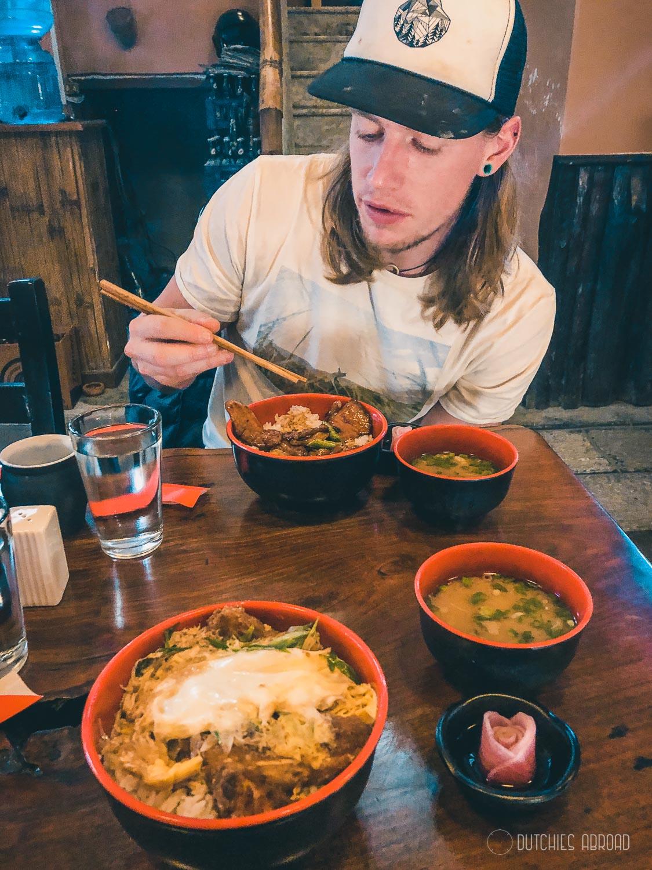 Eating Japanese food in Nepal at Momotarou