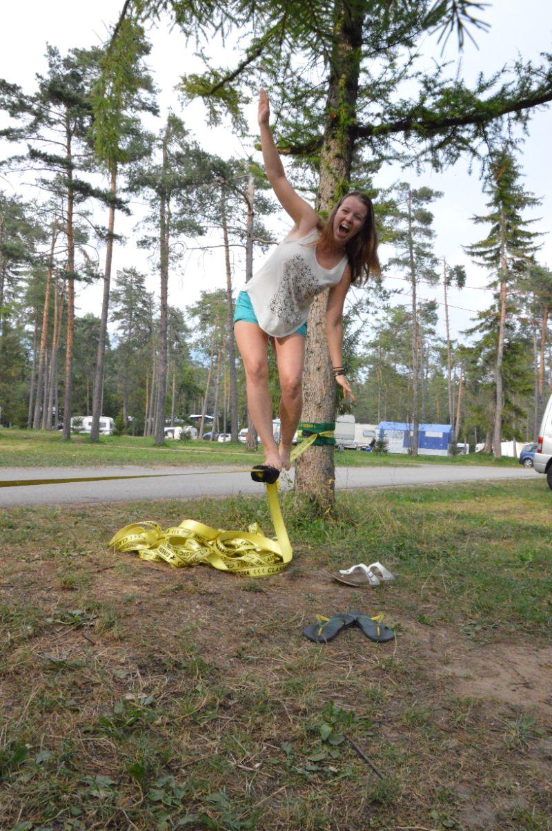 Buiten spelen op de camping in Slovenië